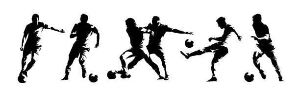 bildbanksillustrationer, clip art samt tecknat material och ikoner med fotbollsspelare, grupp av fotbollsspelare. uppsättning isolerade vektorsilhuetter. bläckteckning. lagsport - fotboll
