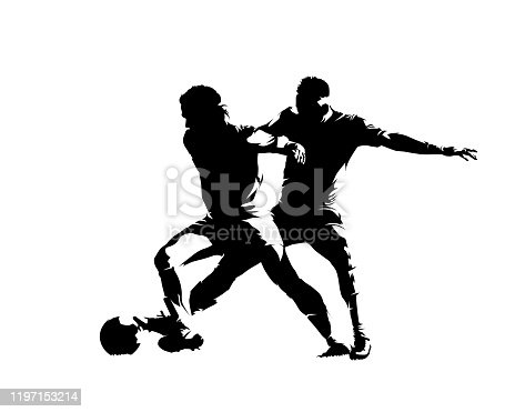 Soccer players, isolated vector silhouette. Two footballers with ball