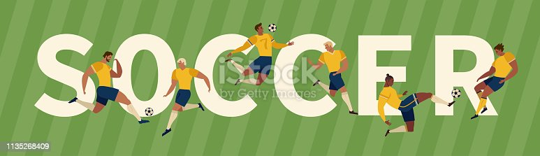 Soccer Players Kicking Ball and goalkeepers. Set Collection of different poses. Vector Illustration.