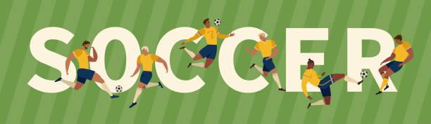 stockillustraties, clipart, cartoons en iconen met voetbalspelers schoppen bal en keepers. set verzameling van verschillende poses. - soccer player