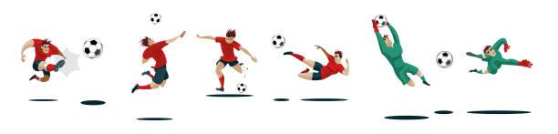fußball spieler kicken und torhüter. sammlung von verschiedenen posen gesetzt. - fußballkunst stock-grafiken, -clipart, -cartoons und -symbole