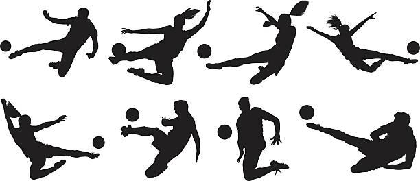 stockillustraties, clipart, cartoons en iconen met soccer players kicking the ball - soccer player