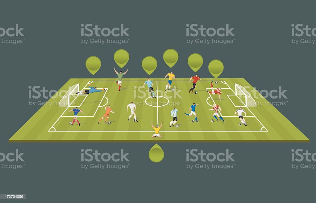 Soccer players on the field vector art illustration
