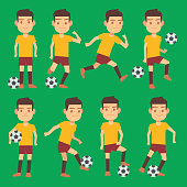 Soccer players poses vector set green field
