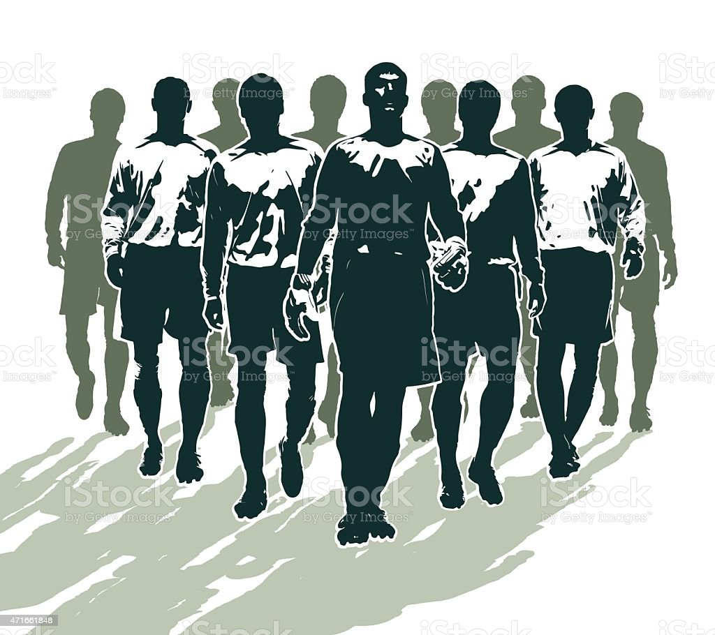 Soccer players preparing for the football match vector art illustration