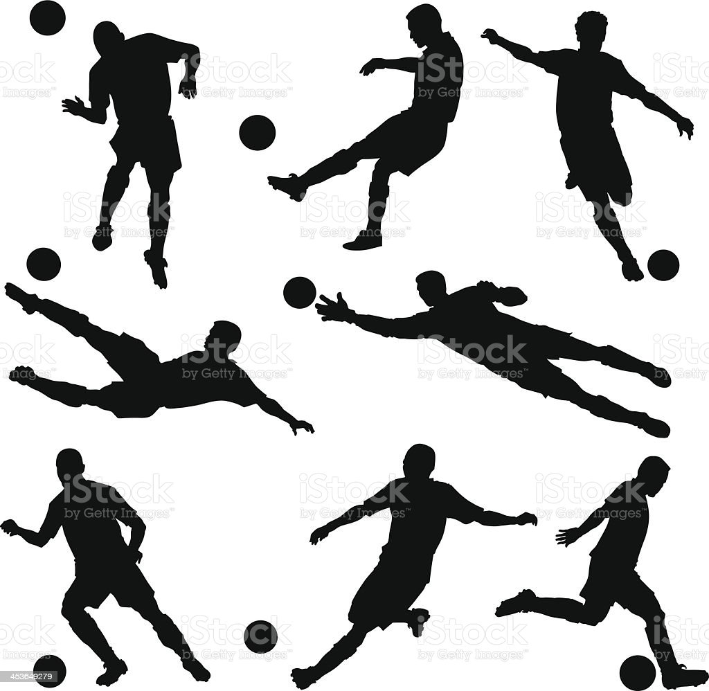 Soccer Players Silhouettes vector art illustration