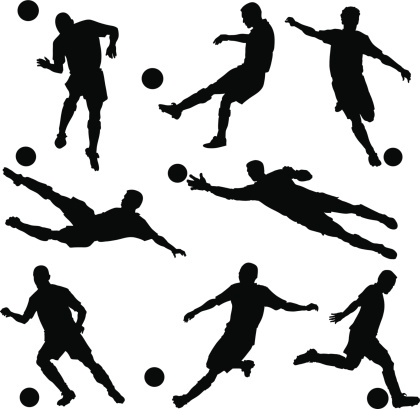 football silhouettes stock illustrations