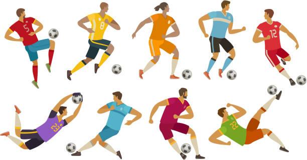 stockillustraties, clipart, cartoons en iconen met voetballers. sport concept. cartoon vectorillustratie - soccer player
