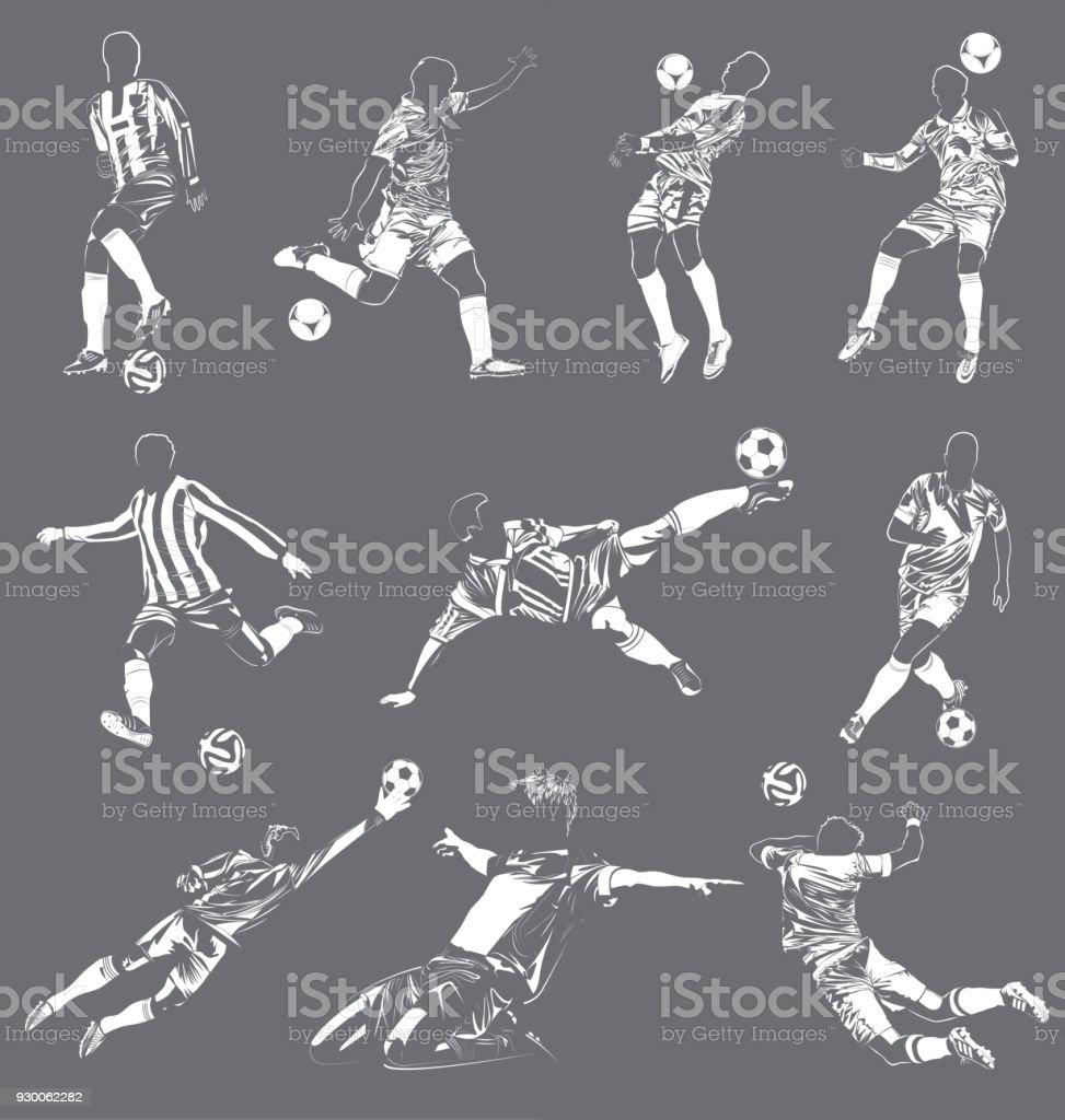 los jugadores de Soccer(Football) vector set ilustración de los jugadores de soccer vector set y más vectores libres de derechos de atleta - papel social libre de derechos
