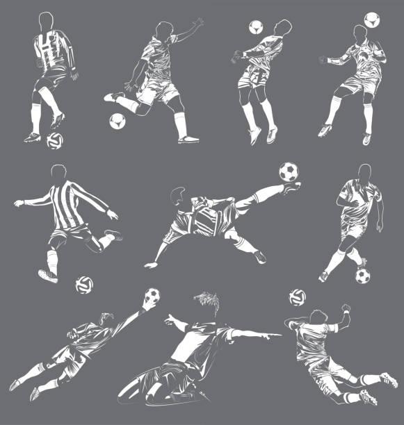 stockillustraties, clipart, cartoons en iconen met soccer(football) spelers vector set - soccer player