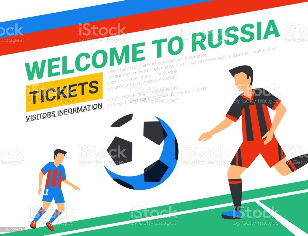 Fußballspieler Mit Fußballball Herzlich Willkommen Sie In Russland