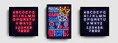 Soccer poster neon vector. Royal Football Cup 2018 postcard flyer design template, light banner, bright brochure soccer championship, invitation to European football. Vector. Editing text neon sign.