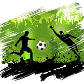 Soccer poster with silhouettes football players, soccer ball and silhouettes fans, grunge background, vector illustration