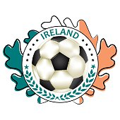 Soccer printable label with flag of Ireland