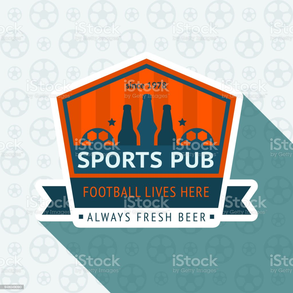 Soccer pub badge vector art illustration