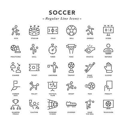 Soccer - Regular Line Icons - Vector EPS 10 File, Pixel Perfect 30 Icons.