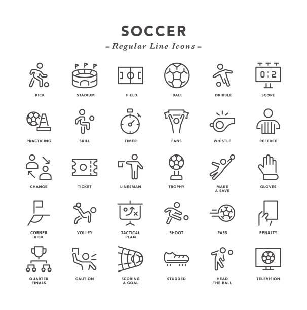 fußball - reguläre liniensymbole - fussball fan stock-grafiken, -clipart, -cartoons und -symbole