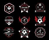soccer retro badge logo illustration design.vintage style design.designed for sticker and apparel and logo and print