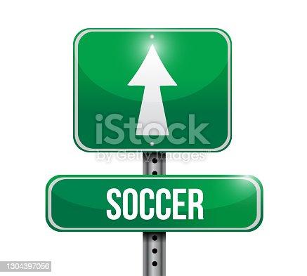 istock Soccer road sign illustrations design 1304397056