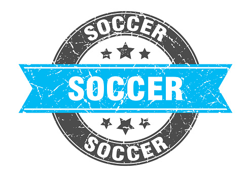 soccer round stamp with ribbon. label sign