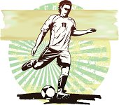 soccer scene with player and grunge background