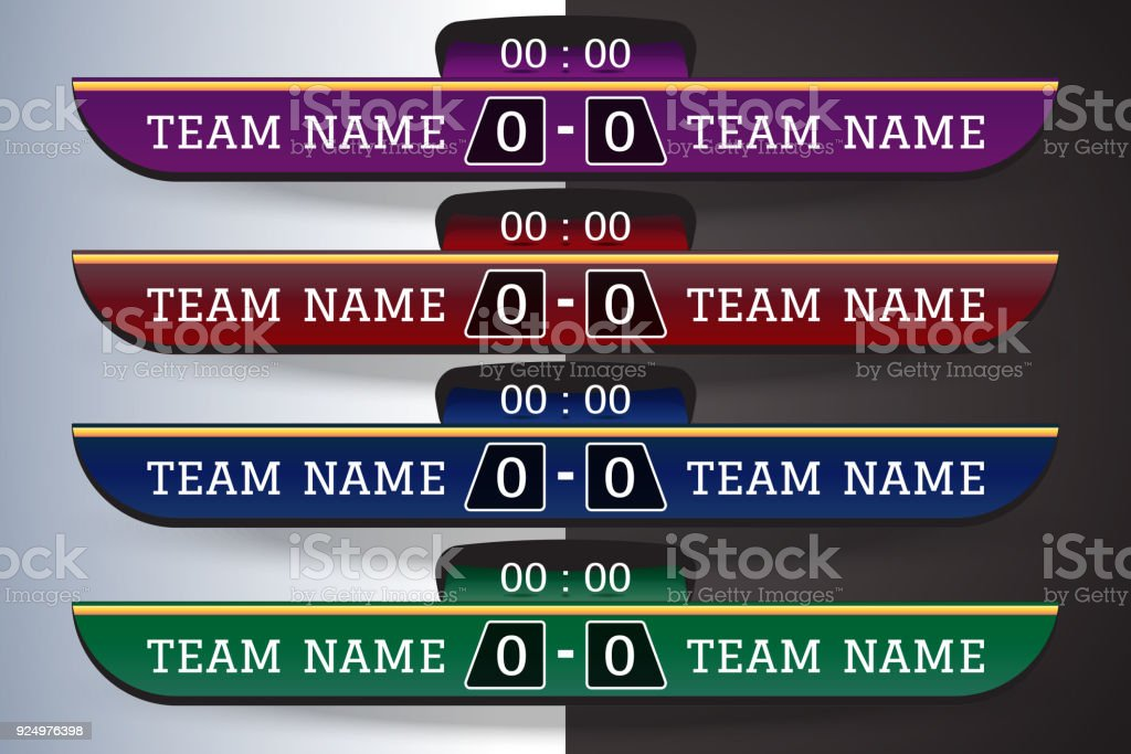 Soccer Scoreboard Digital Screen Graphic Template For Broadcasting