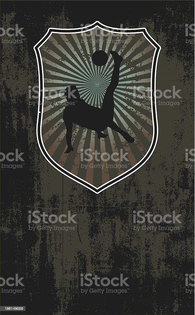 soccer shield with grunge background royalty-free stock vector art