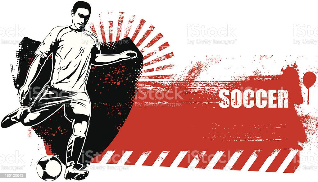 soccer shield with grunge red banner vector art illustration