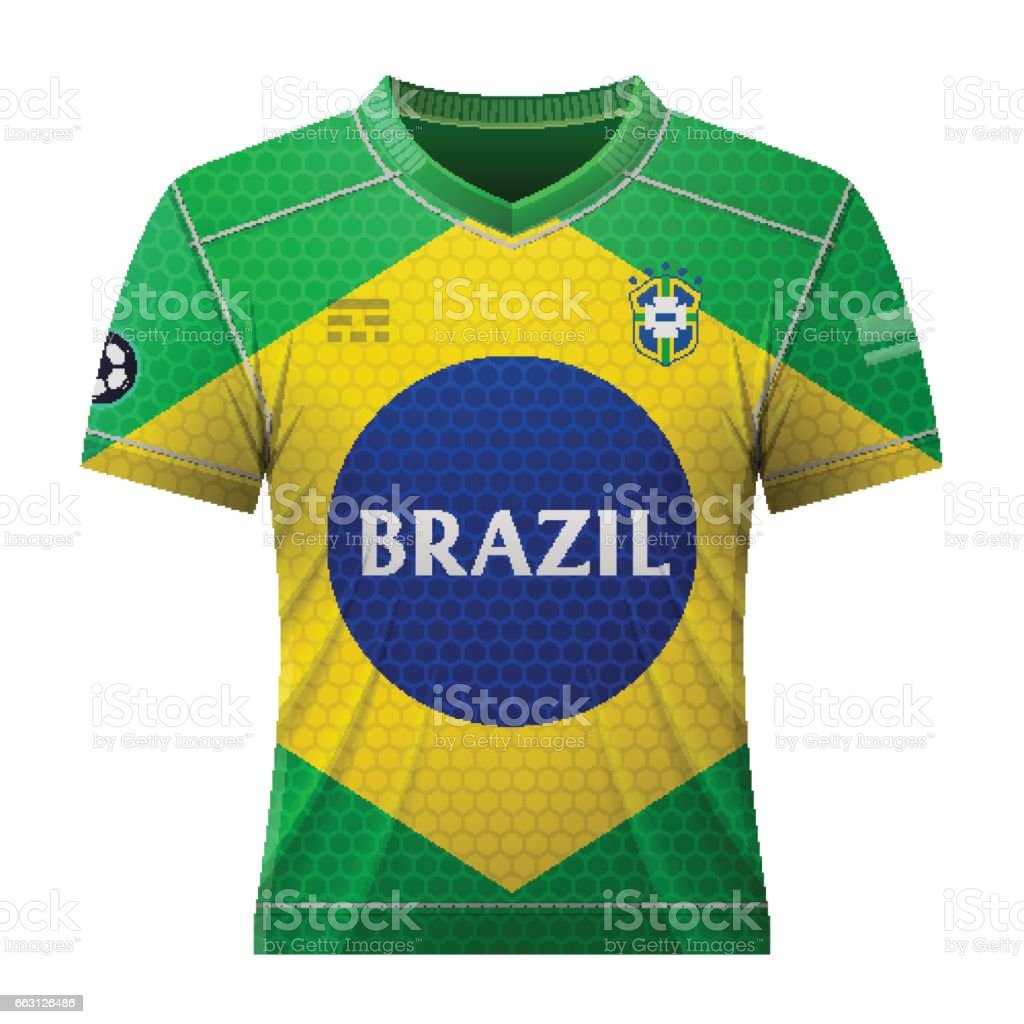 Soccer shirt in colors of brazilian flag vector art illustration
