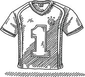 Hand-drawn vector drawing of a Soccer Shirt with a Number 1 on it. Black-and-White sketch on a transparent background (.eps-file). Included files are EPS (v10) and Hi-Res JPG.