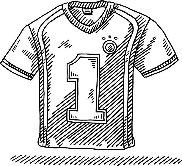 Soccer Shirt Number 1 Drawing Hand-drawn vector drawing of a Soccer Shirt with a Number 1 on it. Black-and-White sketch on a transparent background (.eps-file). Included files are EPS (v10) and Hi-Res JPG. soccer stock illustrations