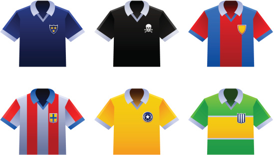 Soccer shirts of various countries