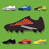 Soccer shoes icons set with shadow on green background- Flat modern design