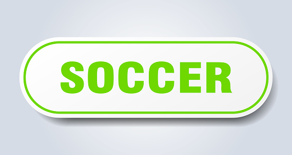 soccer sign. rounded isolated button. white sticker