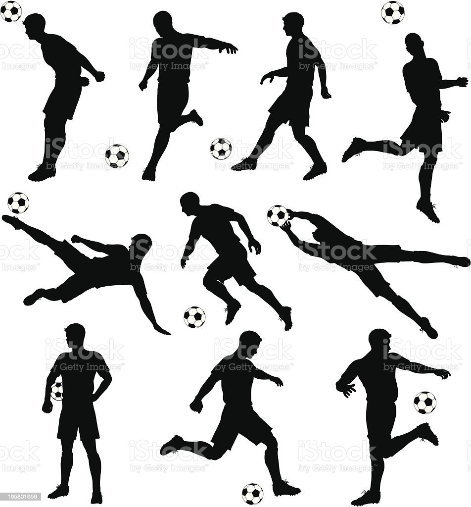 Soccer silhouettes vector art illustration