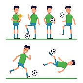 Soccer sport athletes, football goalkeeper playing, kicking, training and practicing football. Flat character isolated on white background. Vector, illustration.
