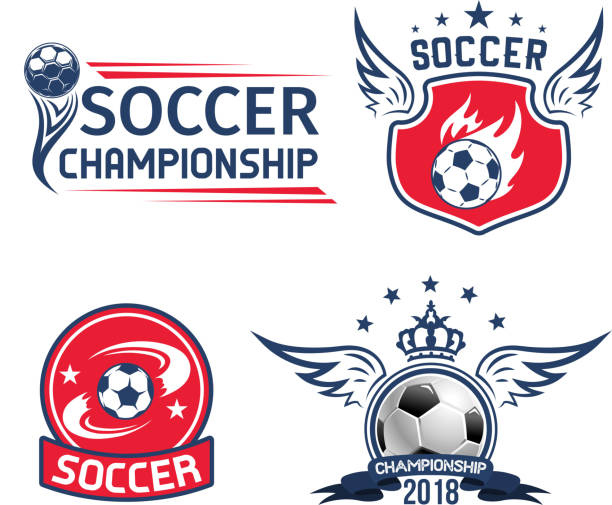 bildbanksillustrationer, clip art samt tecknat material och ikoner med fotboll sport spel eller fotboll championship emblem - fotboll eld