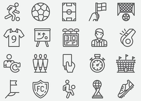 Soccer Sport Line Icons