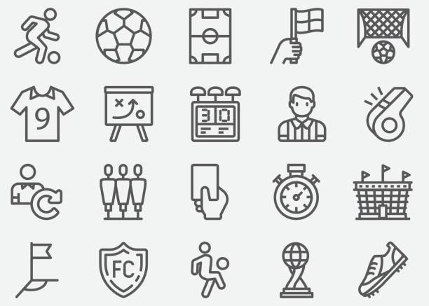 stockillustraties, clipart, cartoons en iconen met voetbal sport lijn iconen - internationale voetbal