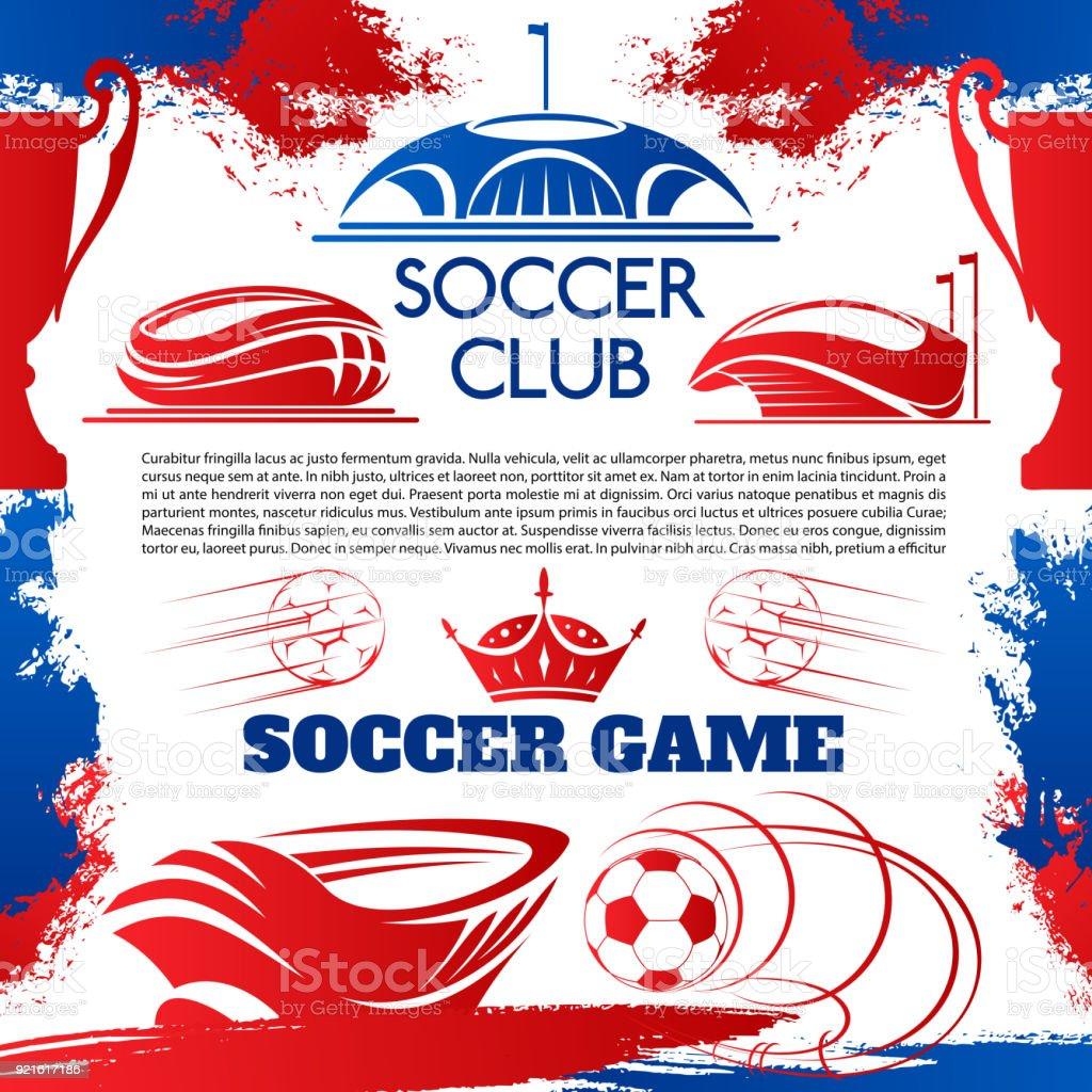 Fussball Sport Poster Mit Fussballstadion Und Ball Stock
