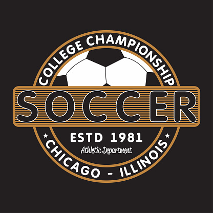 Soccer sports apparel with football ball. Chicago, Illinois college championship. Typography emblem for t-shirt. Design for athletic clothes print. Vector