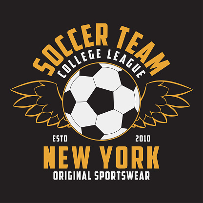 Soccer sports apparel with football ball with wings. Typography emblem for t-shirt. Design for athletic clothes print. Vector