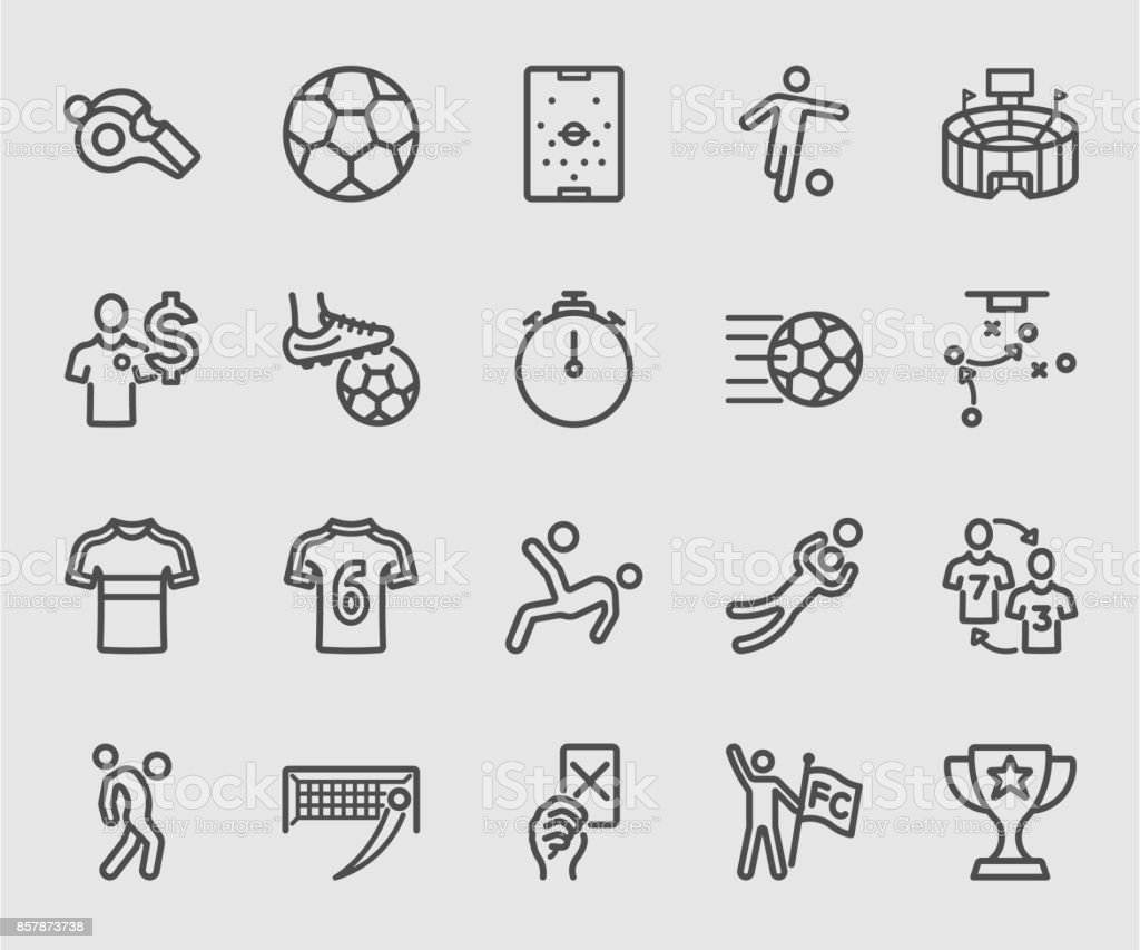 Soccer sports line icon vector art illustration