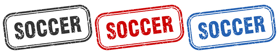 soccer square isolated sign set. soccer stamp