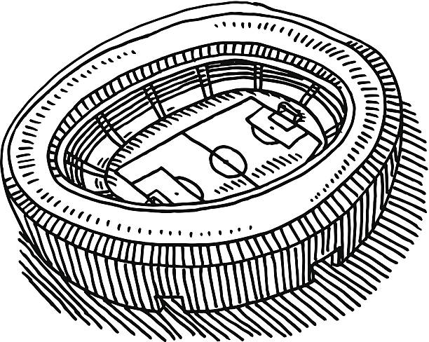 Soccer Stadium Aerial View Drawing Hand-drawn vector drawing of a Soccer Stadium, Aerial View. Black-and-White sketch on a transparent background (.eps-file). Included files are EPS (v10) and Hi-Res JPG. soccer stock illustrations