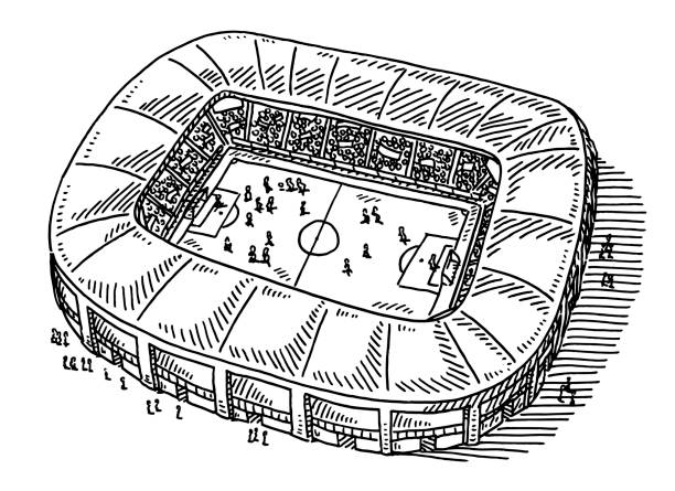 Soccer Stadium Drawing Hand-drawn vector drawing of a big Soccer Stadium. Black-and-White sketch on a transparent background (.eps-file). Included files are EPS (v10) and Hi-Res JPG. game stock illustrations