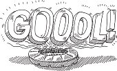 """Hand-drawn vector drawing of a Soccer Stadium and a Goool! Text. Cheering Fans are celebrating a goal loudly. They're shouting the portuguese word """"Goool!"""". Black-and-White sketch on a transparent background (.eps-file). Included files are EPS (v10) and Hi-Res JPG."""