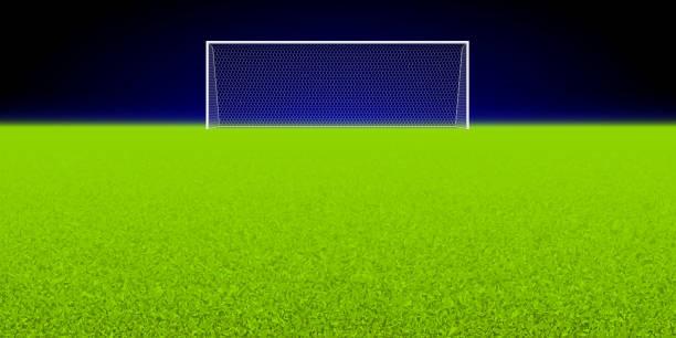 stockillustraties, clipart, cartoons en iconen met voetbalstadion met een doel - soccer goal