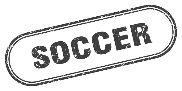 soccer stamp. rounded grunge textured sign. Label