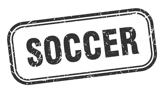 soccer stamp. soccer square grunge black sign